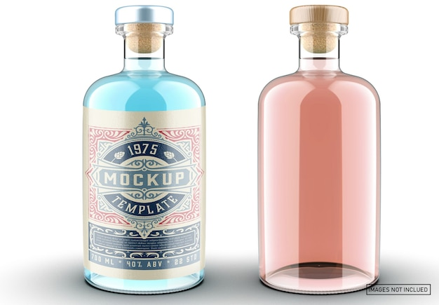 Colored gin bottle packaging mockup
