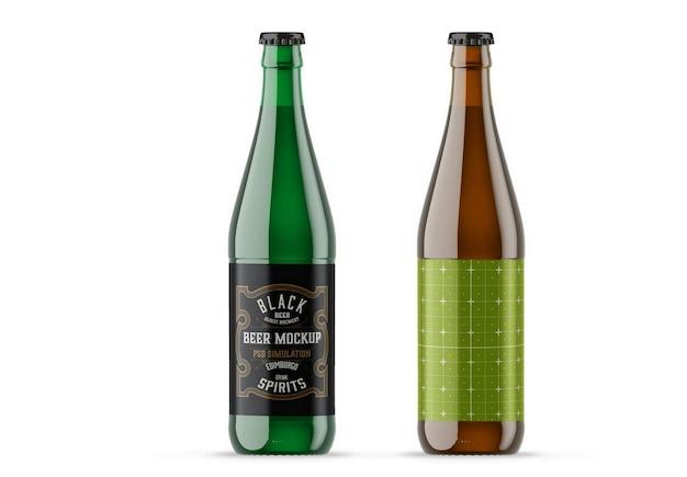 色付きガラスビール瓶モックアップ