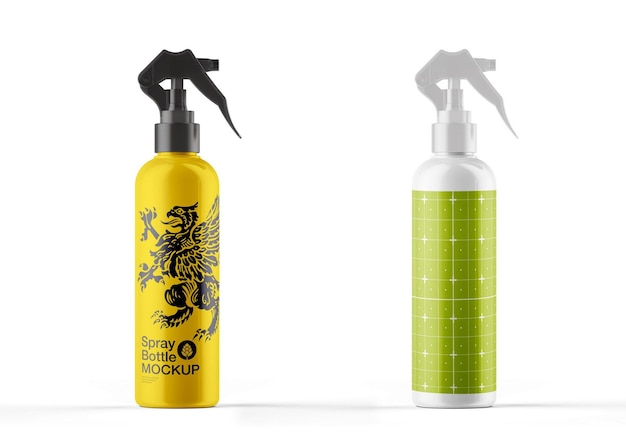 Colored glossy spray bottle mockup design