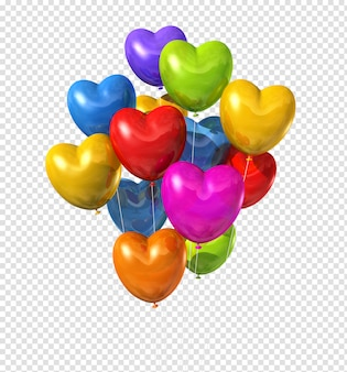 Colored heart shaped balloons isolated