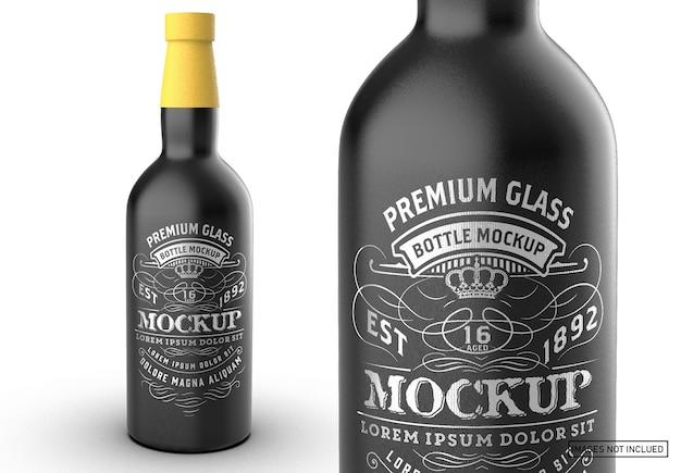 Colored liquor bottle packaging mockup