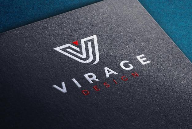 Colored logo mockup on black card