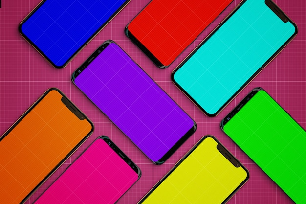 Colored mobiles mockup