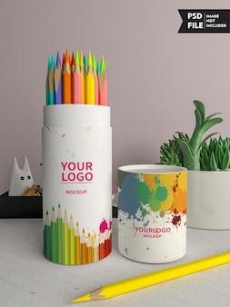 色鉛筆包装モックアップ