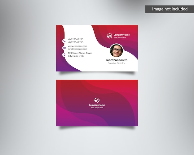 Colored pink & purple corporate business card with photo id