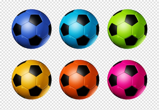 Colored soccer football balls