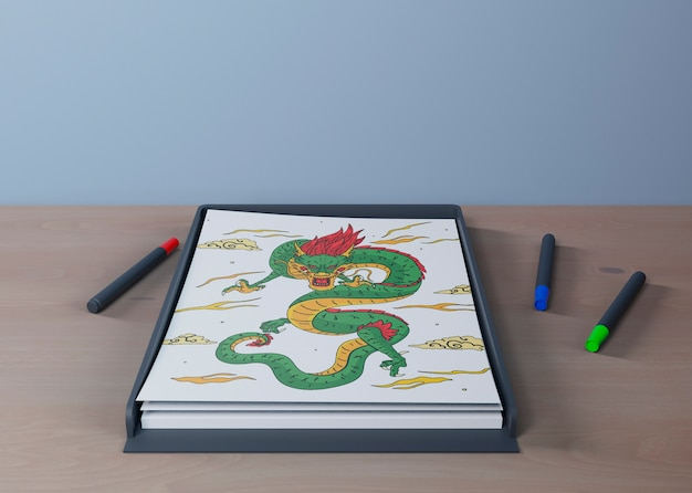 Colorful and artistic snake draw on sheet