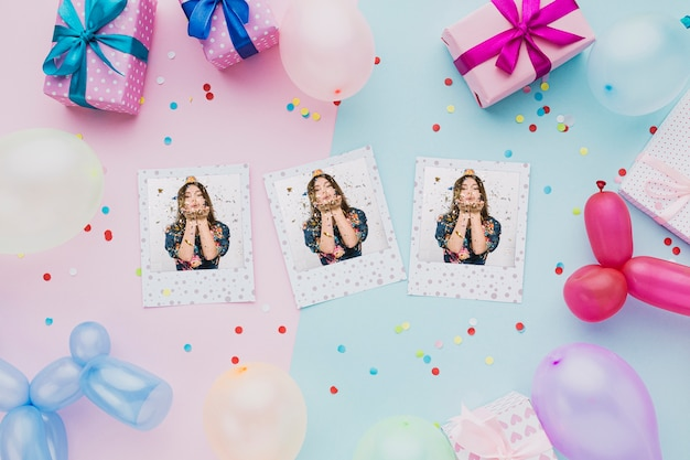 Colorful balloons with confetti and photos