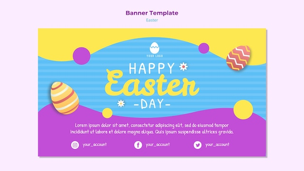 Colorful banner template for easter