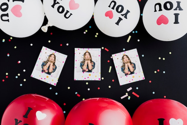 Colorful birthday balloons with photos