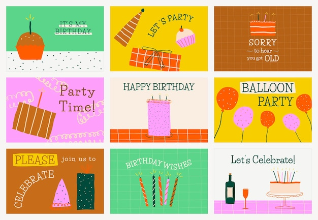 Colorful birthday banner template psd with cute doodles set