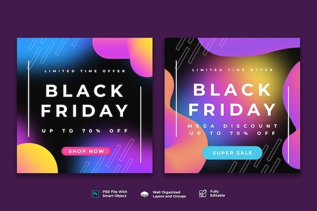 Colorful black friday sale banner template