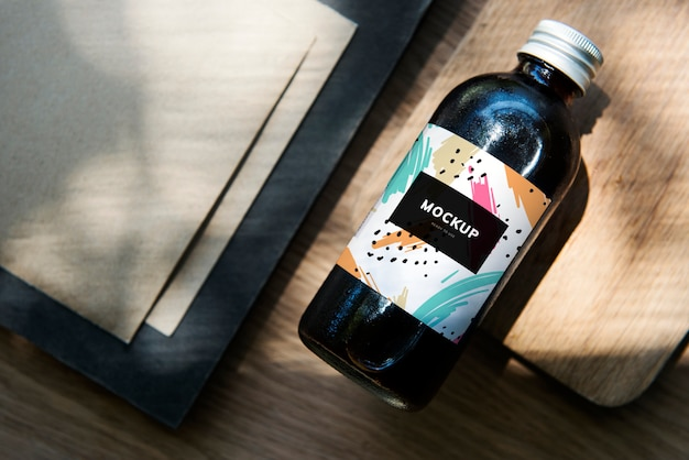 Colorful bottle label mockup design