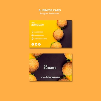 Colorful burger restaurant business card