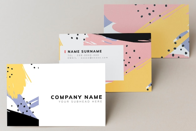 Colorful business card mockup design