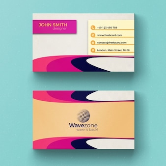 Colorful business card with circular shapes