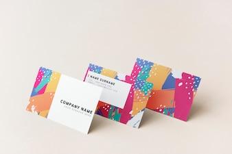 Colorful business cards mockup design