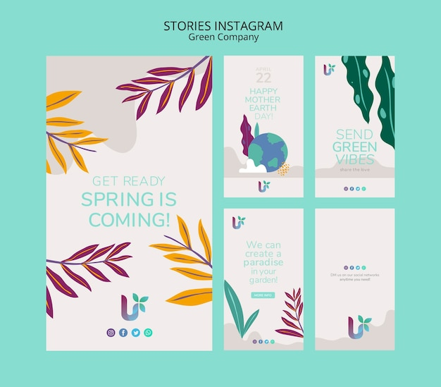 Colorful business instagram stories concept template