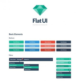 Pulsanti colorati piatto ui kit psd