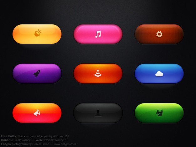 Colorful buttons with icons psd