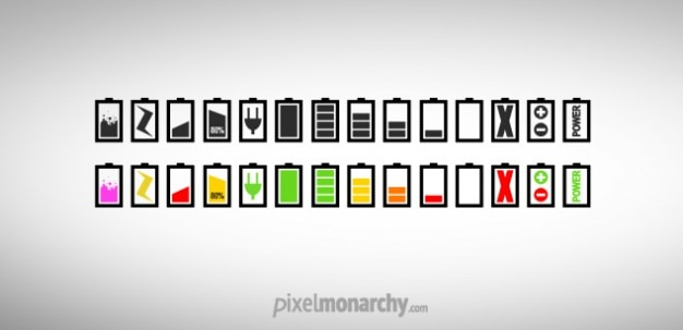 Colorful chargers or battery icons