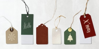 Colorful Christmas labels and tags mockups