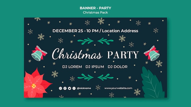 Colorful christmas party banner