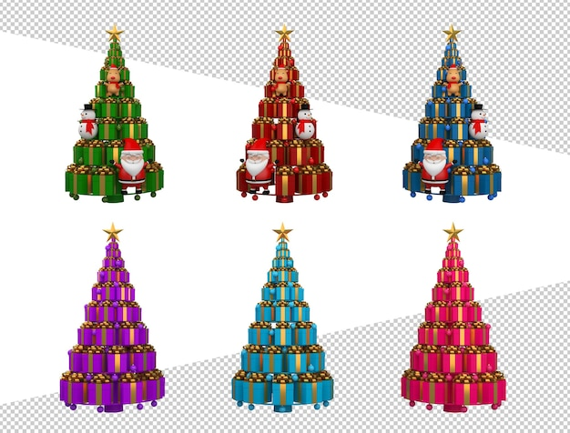 Colorful christmas tree 3d rendering
