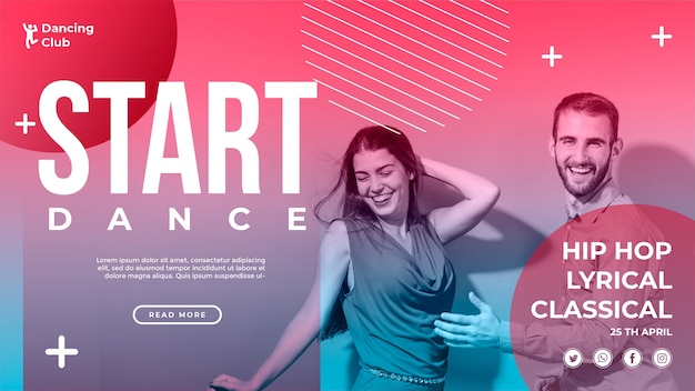 Colorful dance banner template