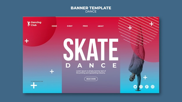 Colorful dance landing page template