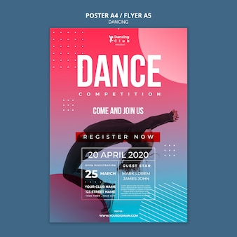Colorful dance poster template