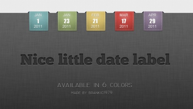 Colorful date labels on black texture