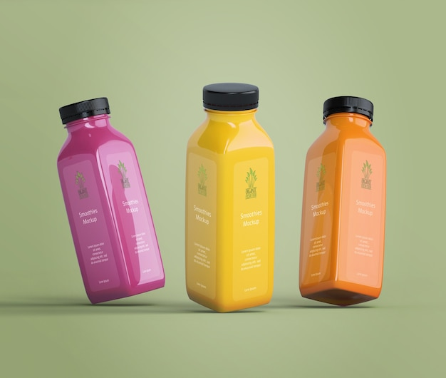 Colorful delicious smoothies mock-up
