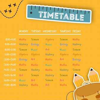 Colorful design for a timetable template