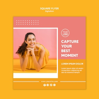 Colorful digitalism flyer with photo of woman
