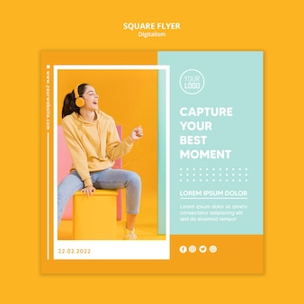 Colorful digitalism square flyer template