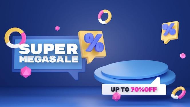 Colorful discount sale podium