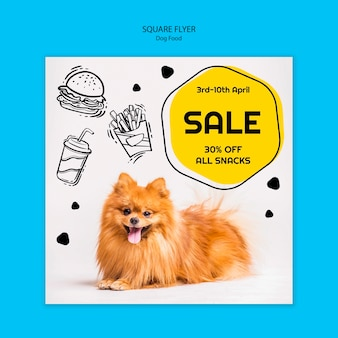 Colorful dog food square flyer