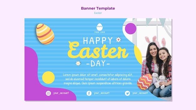 Colorful easter banner template with eggs