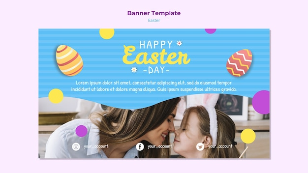 Colorful easter banner template