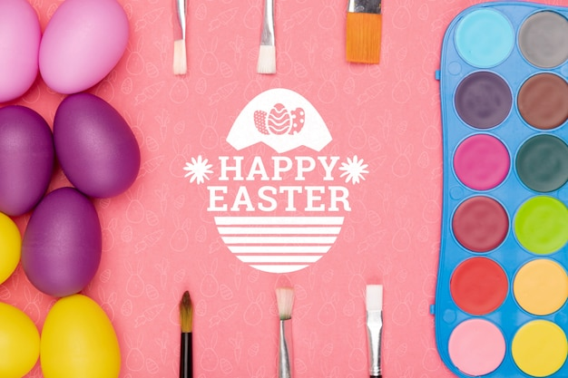 Colorful easter concept mock-up
