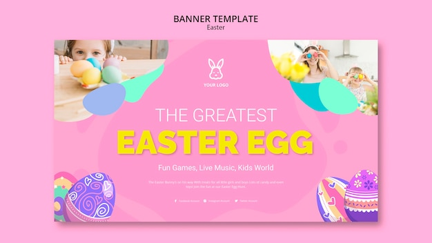 Colorful easter egg banner template