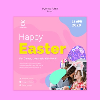 Colorful easter egg flyer template