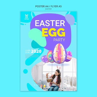 Colorful easter egg party poster template