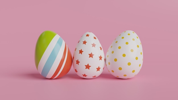 Красочные пасхальные яйца и розовый фон. 3d визуализация