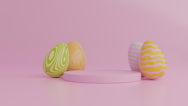 Colorful easter eggs and podium background.3d rendering