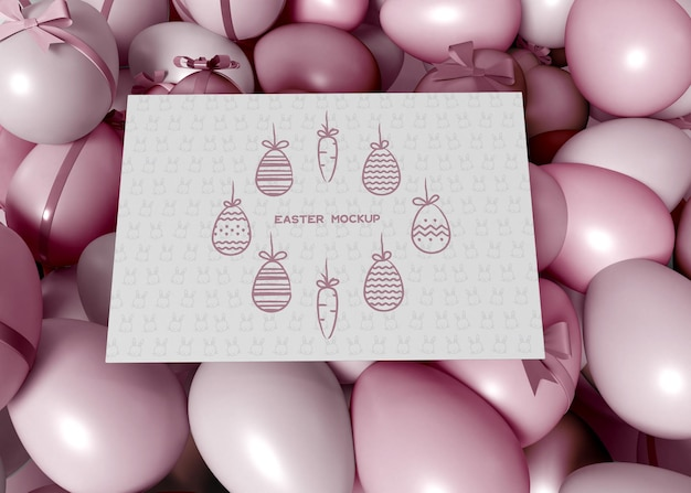 Colorful easter eggs with card mockup