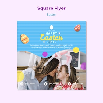 Colorful easter flyer template with eggs