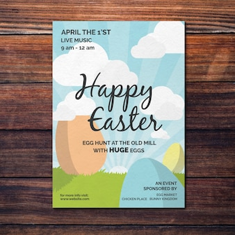 Colorful easter poster mockup