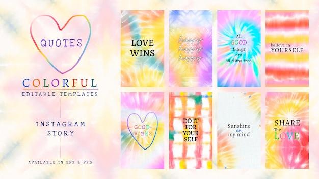 Красочный редактируемый шаблон psd для набора красок для галстука в социальных сетях